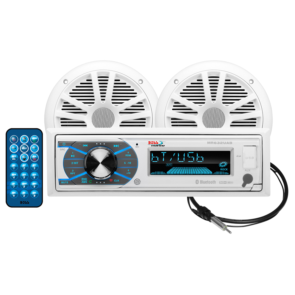 Boss Audio Mck632wb6 Package With Mr632uab Am Fm Marine Radio Speakers Wiring Cd Receiver Pair Of 65 Mr6w Mrant10 Antenna