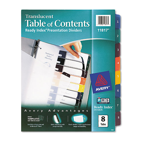 avery 11817 ready index tablecontents dividers 8 tab letter assorted