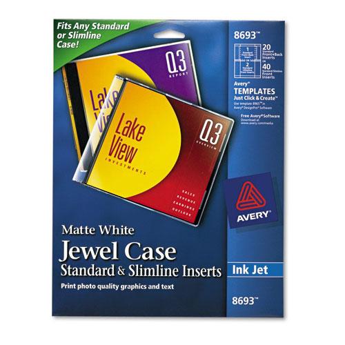 Printing Cd Case Insert: Avery 8693 Inkjet Cd/Dvd Jewel Case Inserts, Matte