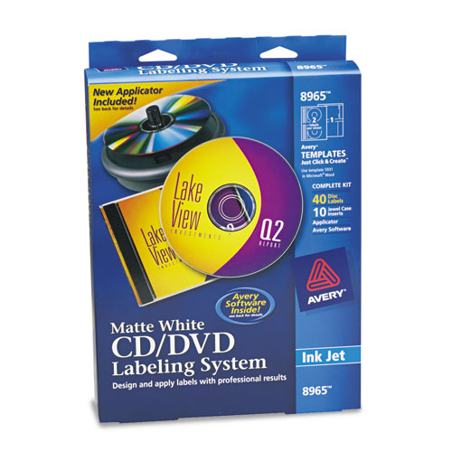 Avery 8965 cd dvd design kit matte white 40 for Avery disc labels