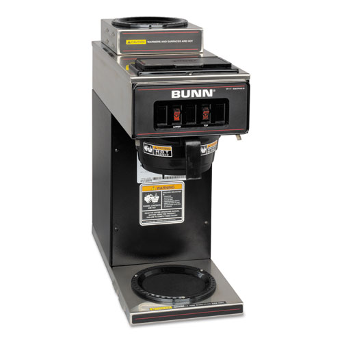 BUNN-O-MATIC VP17-2BLK 12-Cup Two-Station Commercial Pour-O-Matic Coffee Brewer, Stainless Steel, Black