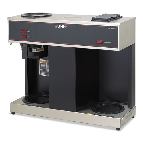 BUNN-O-MATIC VPS Pour-O-Matic Three-Burner Pour-Over Coffee Brewer, Stainless Steel, Black