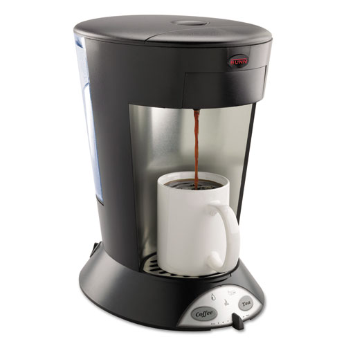BUNN-O-MATIC 35400.0000 My Cafe Pour-Over Commercial Grade Coffee/Tea Pod Brewer, Stainless Steel, Black
