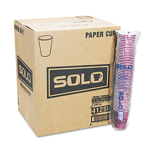 Solo Cups 412sin-0041 Bistro Design Hot Drink Cups, Paper, 12 Oz., Maroon, 50/pack